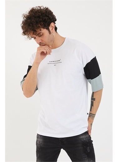 XHAN Bej Kolları Garnili Baskılı Oversize T-Shirt 1Yxe1-44879-25 Beyaz